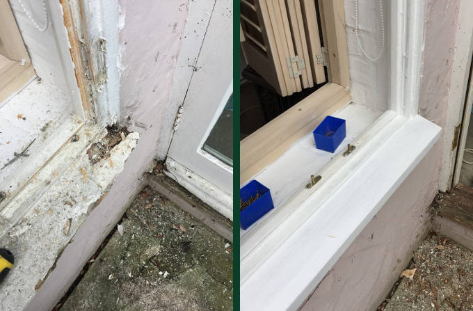 Sash Window Sill Repairs - Before and After Image